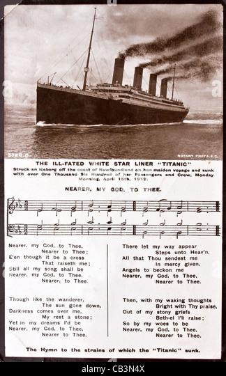 Foto von der Titanic mit Texten näher mein Gott zu dir die Hymne zu den Klängen von denen die Titanic Stockbild
