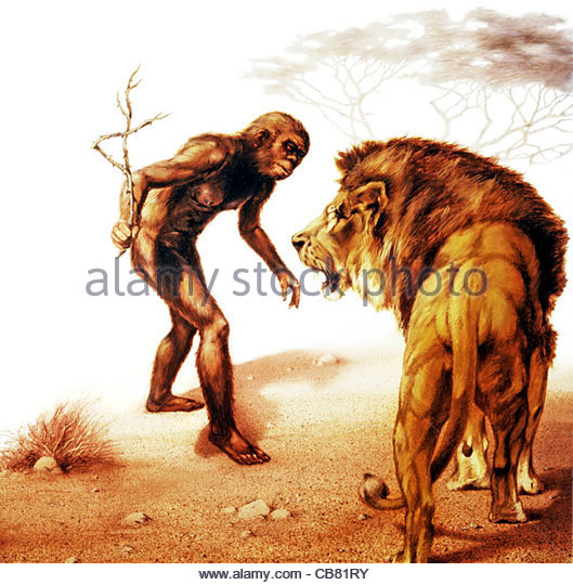 Neandertaler und Lwe Stockbild