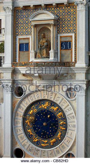 Venedig San Marco Square astronomische Uhr - Stock-Bilder