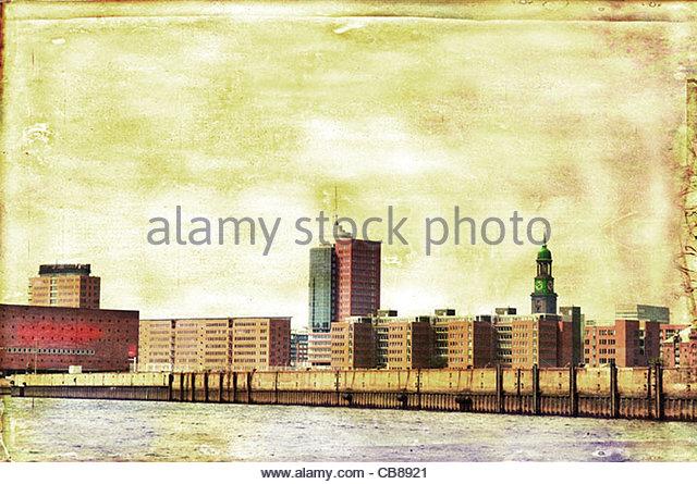 Hamburger Hafen Skyline Stockbild