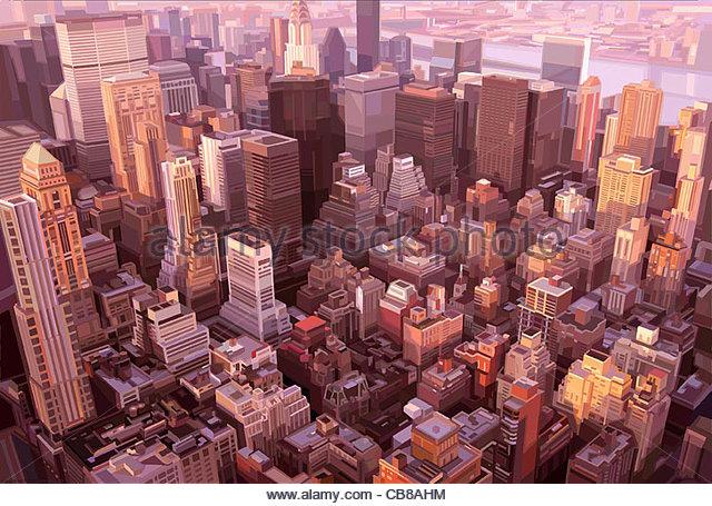 Usa New York Manhattan Wolkenkratzer Serie Stadt städtische Urbanität Städte Ci Stockbild