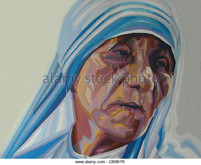 Mutter Teresa Indien Kalkutta Kampagnen Nächstenliebe Serie Portrait Mutter Mama M Stockbild