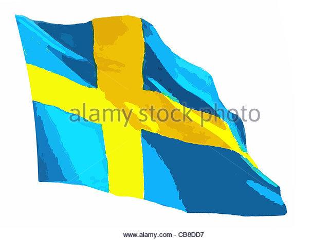 Serie Fahnen Flagge Schweden Stockbild