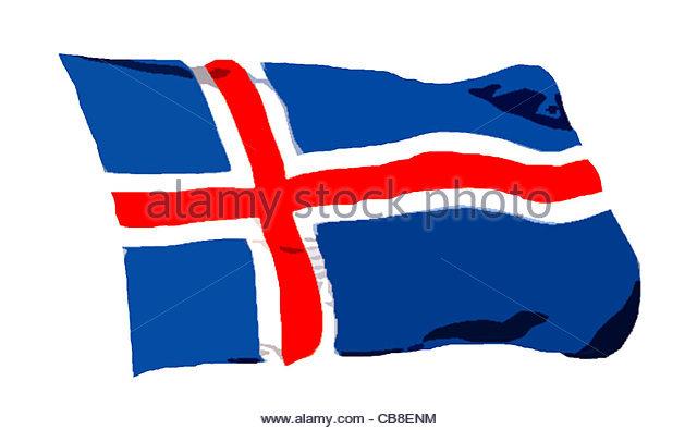 Serie Fahnen Flagge Island Stockbild
