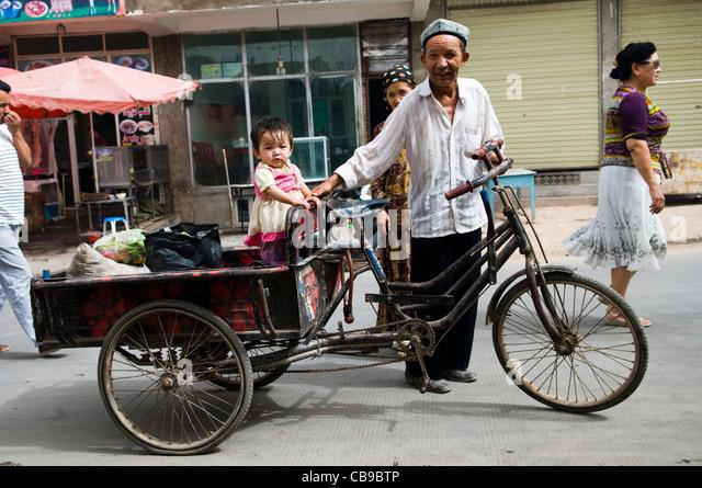 Alltag in der alten Stadt Kashgar. Stockbild