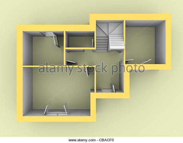 3D-Modell eines Hauses von Ansicht von oben gesehen. Türen und Fenster sind offen Stockbild