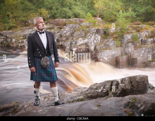 Time-Zeitraffer-Ansicht der Mann im Kilt Fluss Stockbild