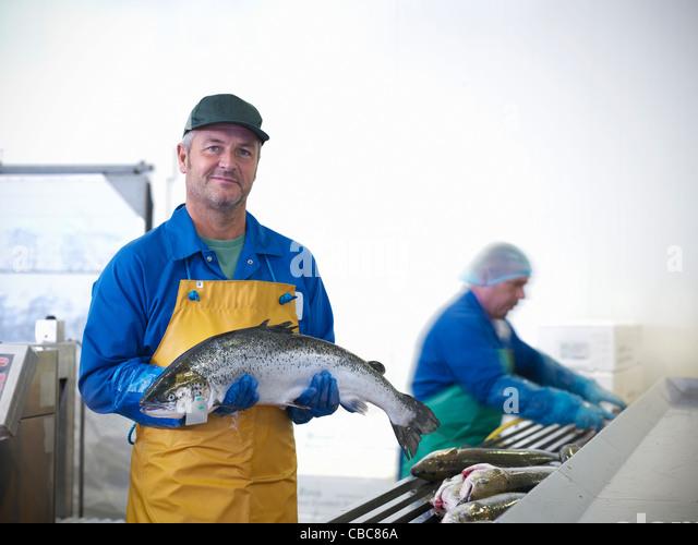 Fischhändler hält der Fang des Tages Stockbild