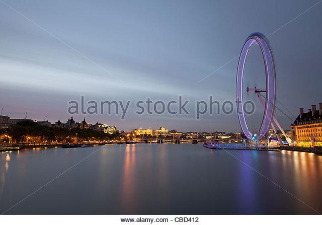 Time Lapse-Ansicht der London Eye Stockbild
