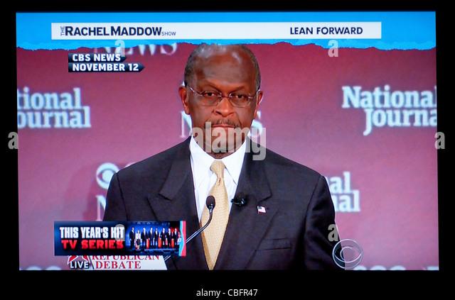 Nachrichten-Clip des Präsidentschaftskandidaten Herman Cain an der 12. November 2011, republikanischen Debatte Stockbild
