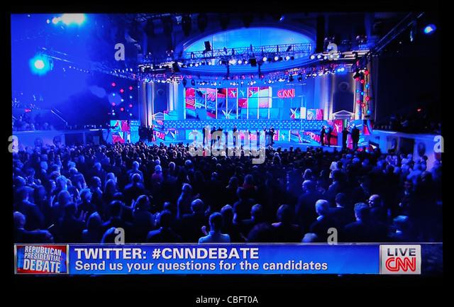 Republican National Sicherheitsdebatte 2012 auf CNN TV-Nachrichten 22. November 2011 Stockbild
