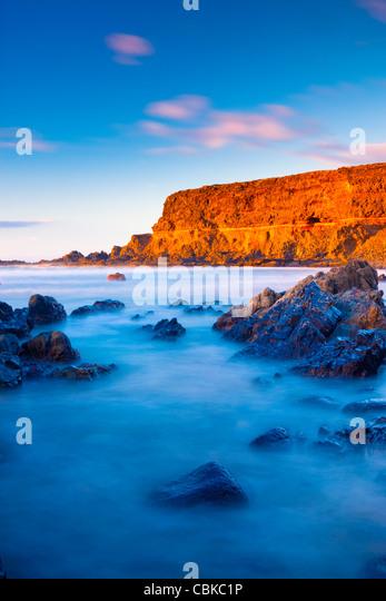 Abendlicht am leeren Strand von Fuerteventura-Kanarische Inseln-Spanien Stockbild