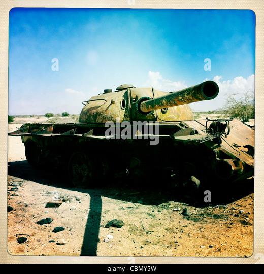Verlassene russische Panzer In der Wüste in der Nähe von Berbera Somaliland Stockbild