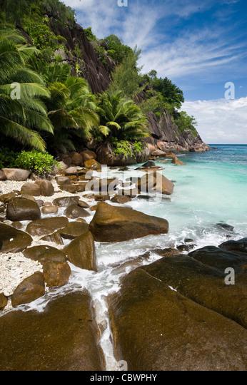 Four Seasons resort Strand, Mahe, Seychellen Stockbild