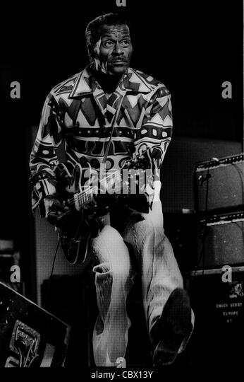 Rock ' n ' Roll Legende Chuck Berry spielt in Norrviken in Båstad Schweden im Juli 1987 Stockbild