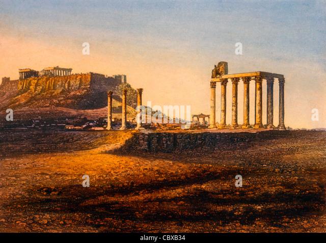 Blick auf die Akropolis, Athen, Griechenland, circa1842 Stockbild