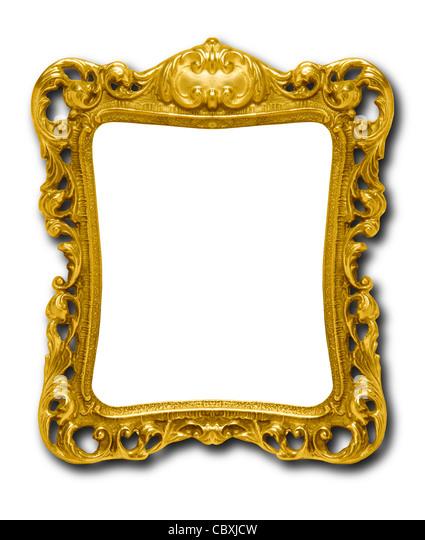 Reich verzierte gold Bilderrahmen Silhouette gegen den weißen Hintergrund mit Schlagschatten Stockbild