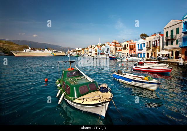 """Teilweisen Blick auf den malerischen Hafen und Dorf von Kastellorizo (oder """"Meghisti"""") Insel, Dodekanes, Stockbild"""