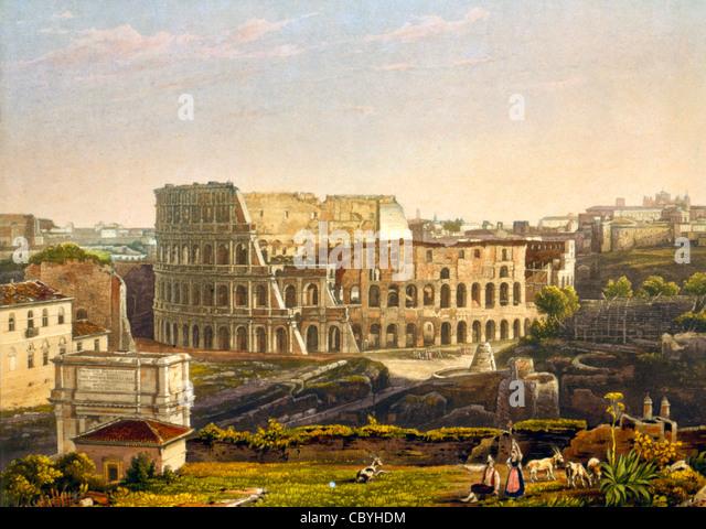 Blick auf das Kolosseum, Rom, Italien. Le Colisee ein Rom! Ca. 1842 Stockbild