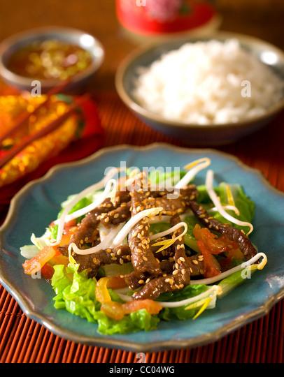 Saut?ed Rindfleisch mit Gemüse Stockbild