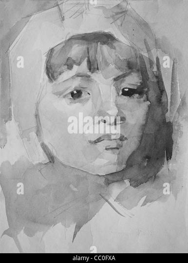 Grafik Porträt eines Mädchens von Bleistift und Aquarell gemalt - Stock-Bilder