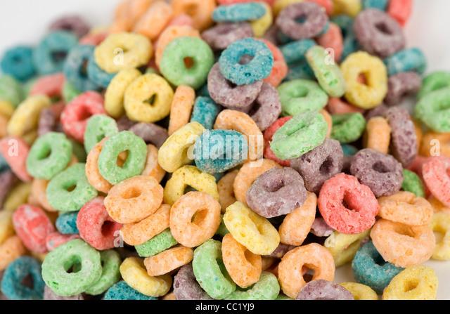 Froot Loops Frühstücks-Cerealien. Stockbild
