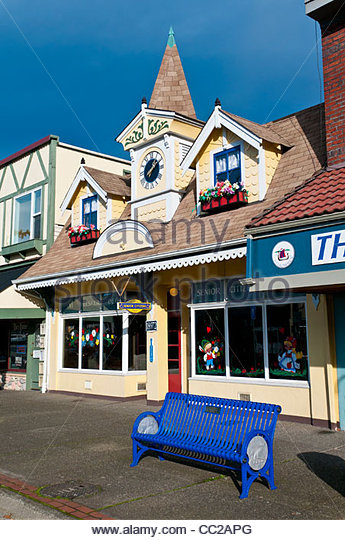 Traditionelle skandinavische Architektur in der Hauptstraße Pulsbo, Washington, USA Stockbild