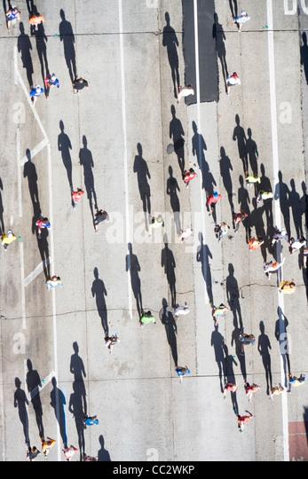 USA, New York City, New York City Marathon von oben gesehen Stockbild