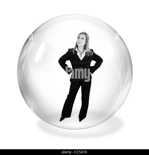 Geschäftsfrau in Blase Stockbild