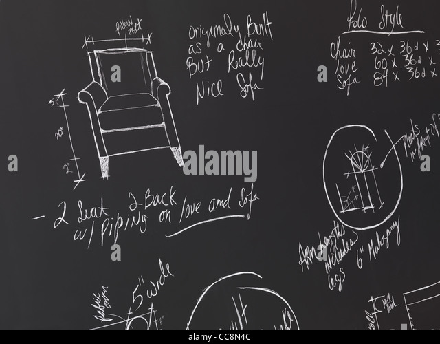 Möbel-Design-Skizzen auf einer Tafel. Interior Design-Zeichnungen. Stockbild