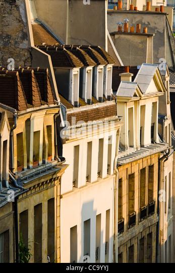 Morgenlicht auf Häuser im Quartier Latin, Paris, Frankreich Stockbild
