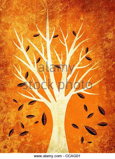 Herbstblätter fallen vom Baum Abbildung Stockbild