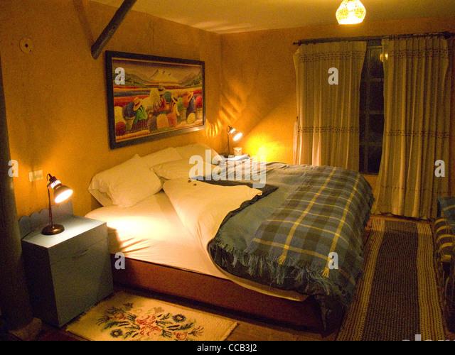 Ecuador Cotopaxi El Porvenir Hacienda Schlafzimmer Innenraum Stockbild
