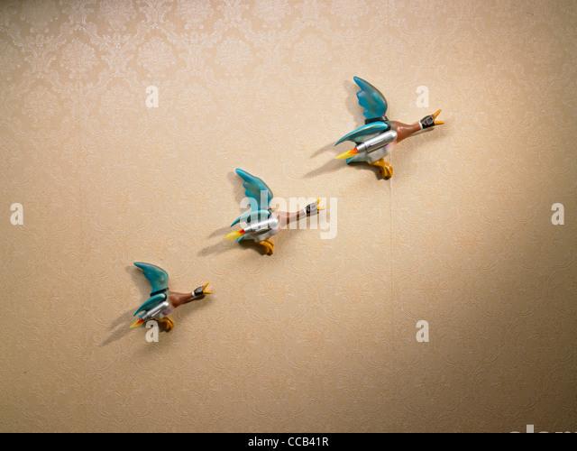 eine Linie der Rakete angetrieben Enten an der Wand Stockbild