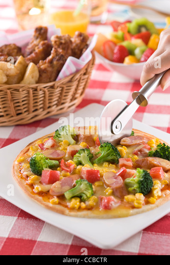Pizza-Buffet Stockbild