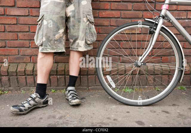 Geringen Teil der Biker stehend mit dem Fahrrad Stockbild