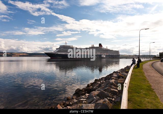 Queen Elizabeth Kreuzfahrtschiff in Invergordon, Cromarty Firth, Ross & Cromerty, Schottland Stockbild