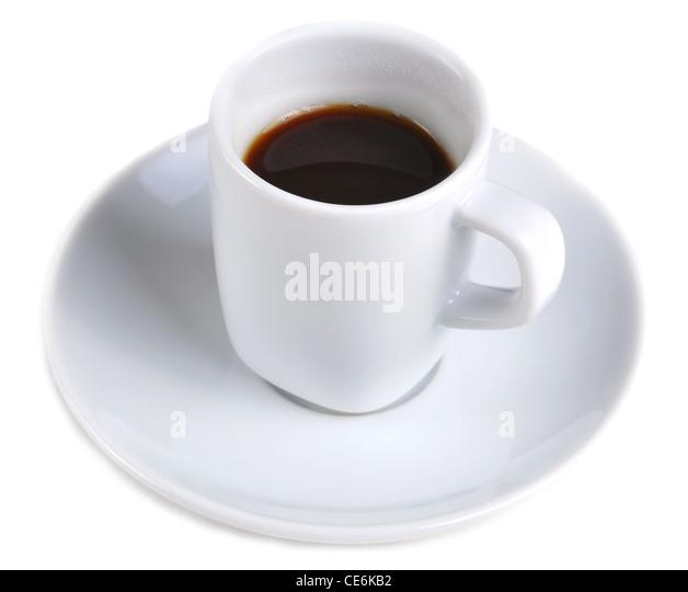 Kaffee-Tasse mit Kaffee in einem weißen Hintergrund isoliert Stockbild
