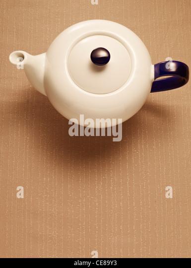 Teekanne von oben Stockbild