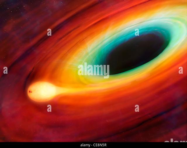 Dieses Kunstwerk zeigt einen Stern, der durch seine enge Passage, ein supermassives schwarzes Loch im Zentrum einer Stockbild