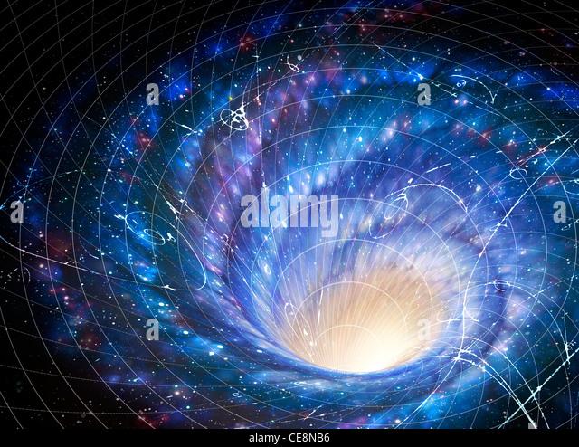 Abbildung zeigt Galaxy Riesen Whirlpool im Raum Galaxie Auswirkungen auf Raum-Bild zeigt wie Schwerkraft Galaxie Stockbild