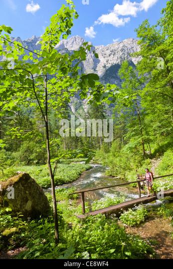 Frau Wandern an der Hoellbach Im Bluntautal, Berchtesgadener Alpen, Österreich Stockbild