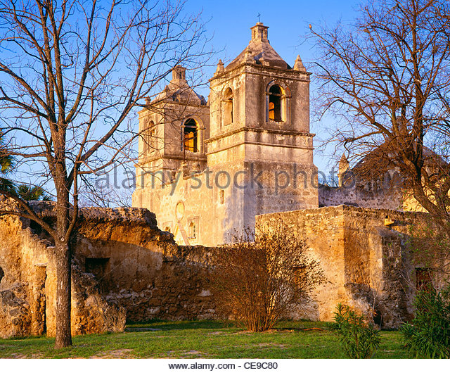 """Mission Concepcion"" [abgeschlossen 1755] [San Antonio Missions nationaler historischer Park] Texas Stockbild"