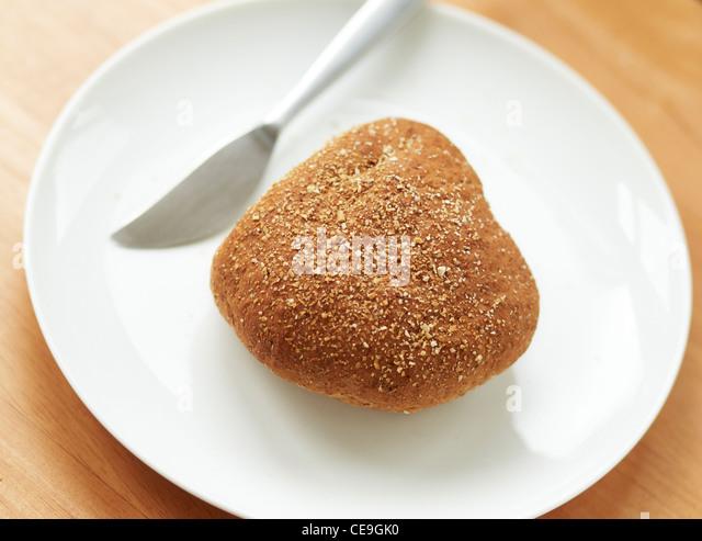 Breadbun auf einem Teller Stockbild