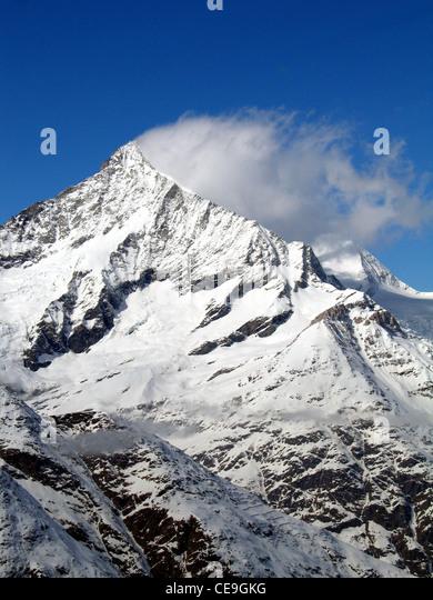 Blick auf das Matterhorn, Monte Cervino oder Mont Cervin Berg in den Walliser Alpen an der Grenze zwischen der Schweiz Stockbild