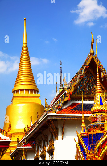 Ansicht des Wat Phra Kaeo Tempel. Bangkok. Thailand. Stockbild