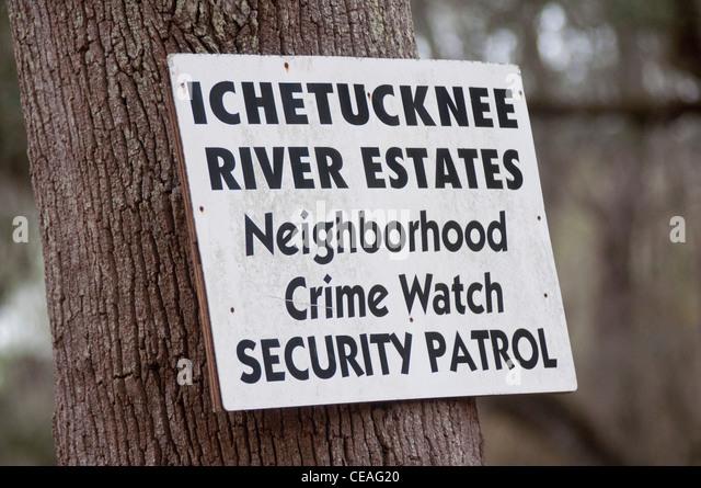 Ichetucknee River Estates Nachbarschaft Crime Watch Sicherheitspatrouille unterzeichnen, Florida, Vereinigte Staaten, Stockbild