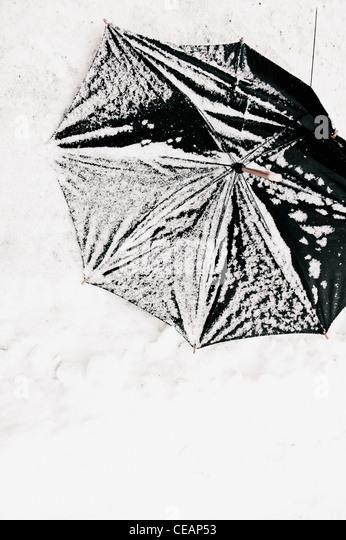 Gebrochene Dach im Schnee Stockbild