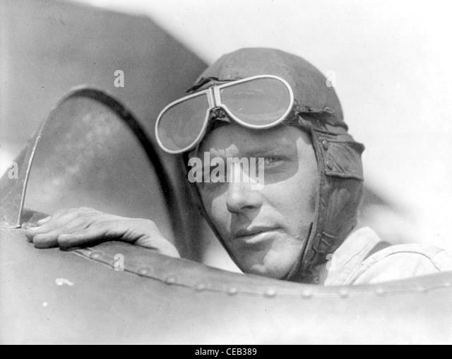 Charles Augustus Lindbergh war ein amerikanischer Flieger, Autor, Erfinder, Explorer und sozialer Aktivist. Stockbild