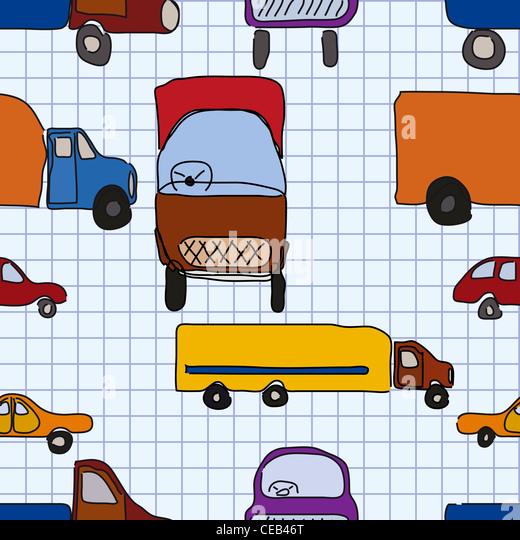 Abstraktion, Kinderzeichnungen von Autos, nahtlose Muster. Stockbild